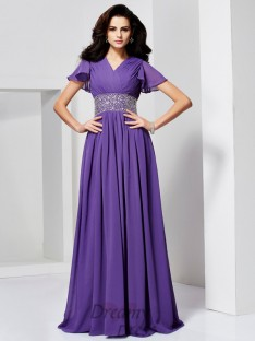 A-Line/Princess Short Sleeves V-neck Floor-Length Chiffon Dress