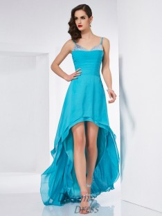 A-Line/Princess Spaghetti Straps Chiffon Asymmetrical Dress