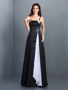 A-Line/Princess Spaghetti Straps Chiffon Long Dress