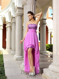 A-Line/Princess Strapless Chiffon Asymmetrical Dress