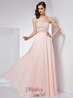 A-Line/Princess Strapless Floor-Length Chiffon Dress