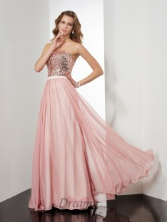 A-Line/Princess Strapless Paillette Floor-Length Chiffon Dress