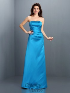 A-Line/Princess Strapless Satin Long Dress