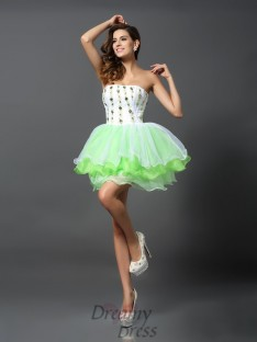 A-Line/Princess Strapless Short/Mini Organza Dress