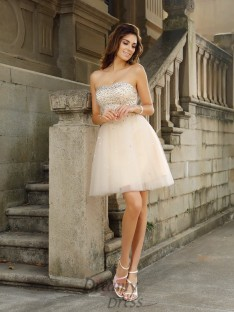 A-Line/Princess Strapless Short/Mini Satin Dress