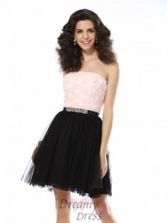 A-Line/Princess Strapless Short/Mini Tulle Dress