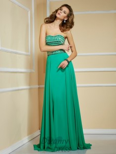 A-Line/Princess Strapless Sweep/Brush Train Chiffon Dress