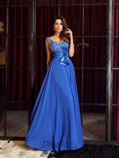 A-Line/Princess Straps Chiffon Floor-Length Dress