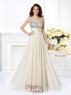 A-Line/Princess Straps Chiffon Long Dress