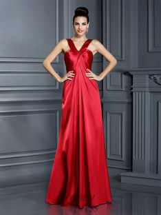 A-Line/Princess Straps Elastic Woven Satin Long Dress