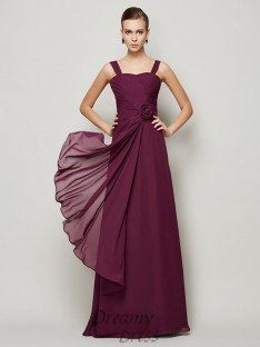 A-Line/Princess Straps Hand-made Flower Pleats Chiffon Dress