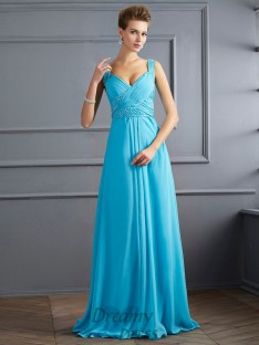 A-Line/Princess Straps Pleats Chiffon Floor-Length Dress