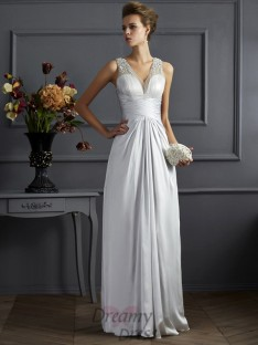 A-Line/Princess Straps Silk like Satin Floor-Length Dress