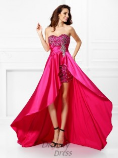 A-Line/Princess Sweetheart Asymmetrical Elastic Woven Satin Dress