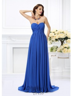 A-Line/Princess Sweetheart Chiffon Chaple Train Dress
