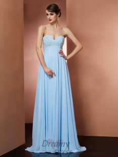 A-Line/Princess Sweetheart Floor-Length Chiffon Dress