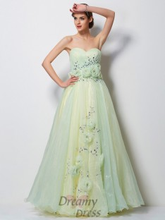 A-Line/Princess Sweetheart Floor-Length Tulle Dress