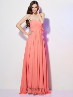 A-Line/Princess Sweetheart Hand-Made Flower Floor-Length Chiffon Dress