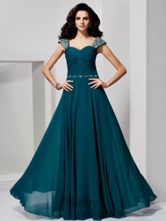 A-Line/Princess Sweetheart Off-the-Shoulder Chiffon Dress