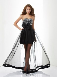 A-Line/Princess Sweetheart Organza Floor-Length Dress