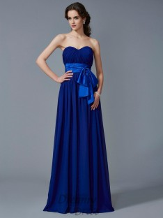 A-Line/Princess Sweetheart Pleats Chiffon Floor-Length Dress
