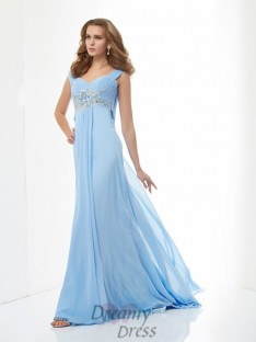 A-Line/Princess Sweetheart Straps Chiffon Sweep/Brush Train Dress