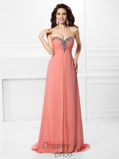 A-Line/Princess Sweetheart Sweep/Brush Train Chiffon Dress