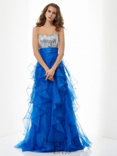 A-Line/Princess Sweetheart Sweep/Brush Train Satin Dress