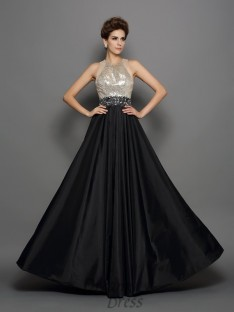 A-Line/Princess Taffeta High Neck Floor-Length Dress