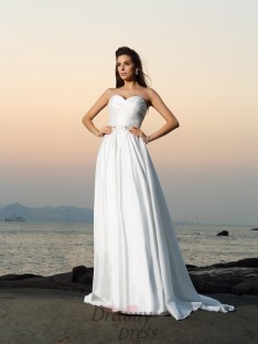 A-Line/Princess Taffeta Sweetheart Chapel Train Wedding Dress