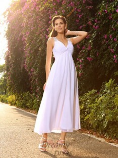 A-Line/Princess V-neck Ankle-Length Chiffon Wedding Dress