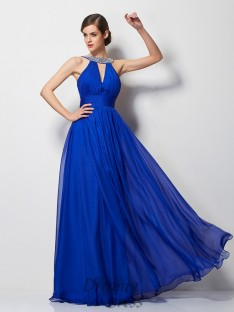 A-Line/Princess V-neck Chiffon Floor-Length Dress