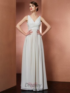A-Line/Princess V-Neck Floor-Length Chiffon Dress