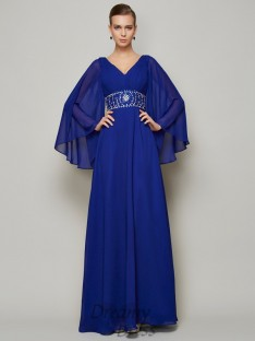 A-Line/Princess V-neck Floor-length Long Sleeves Chiffon Dress