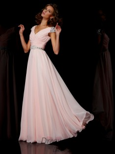 A-line/Princess V-neck Floor-length Short Sleeves Chiffon Dress