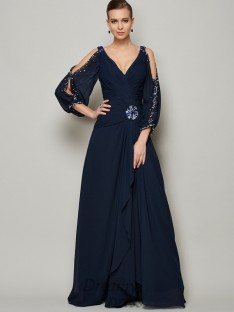 A-Line/Princess V-neck Long Sleeves Chiffon Dress