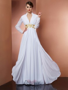 A-Line/Princess V-neck Long Sleeves Floor-Length Chiffon Dress