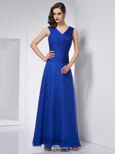 A-Line/Princess V-neck Pleats Ankle-Length Chiffon Dress