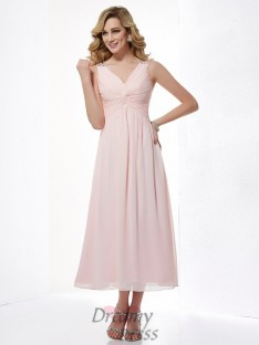 A-Line/Princess V-neck Pleats Chiffon Tea-Length Dress