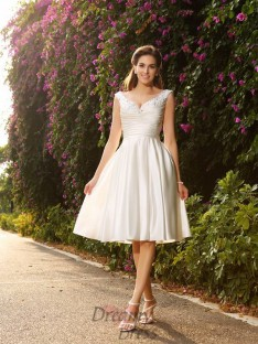A-Line/Princess V-neck Satin Tea-Length Wedding Dress