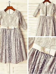 A-line Scoop 3/4 Sleeves Floor-Length Lace Flower Girl Dress