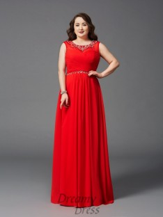 A-line Scoop Floor-Length Chiffon Plus Size Dress