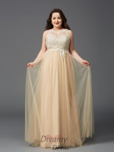 A-line Scoop Floor-Length Net Plus Size Dress
