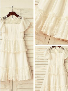 A-line Scoop Lace Floor-Length Chiffon Flower Girl Dress