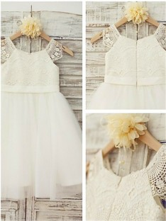A-line Scoop Lace Floor-Length Tulle Flower Girl Dress
