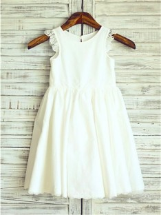 A-line Scoop Lace Tea-Length Chiffon Flower Girl Dress