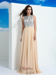 A-line Scoop Paillette Sweep/Brush Train Chiffon Dress