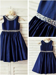 A-line Scoop Rhinestone Tea-Length Taffeta Flower Girl Dress