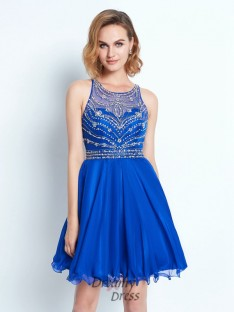 A-Line Sleeveless Scoop Chiffon Short Dress with Beading