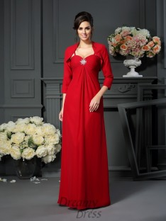 A-Line Spaghetti Straps Chiffon Floor-Length Mother of the Bride Dress